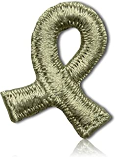 """Unique & Custom {1"""" x 3/4"""" Inch} 1 of [Glue-On, Iron-On & Sew-On] Embroidered Applique Patch Made of Natural Cotton w/Spinal Cord Injury March Awareness Ribbon Support Health {Cream} + Certificate"""