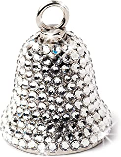 """Motorcycle Bell for Women Bikers Handcrafted with Rhinestone Crystals - Guardian Angel Bling Accessory for Good Luck & Gremlin Protection - Includes Luxury Gift Box & Key Ring, 1"""" x 1.5"""""""