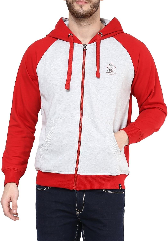 Griffel Men's Solid Winter Red blueee Zipper Sweatshirt Hoodie with NYC logo