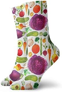 tyui7, Calcetines de compresión antideslizantes de aguacate y col morada Calcetines deportivos de 30 cm acogedores para hombres, mujeres y niños