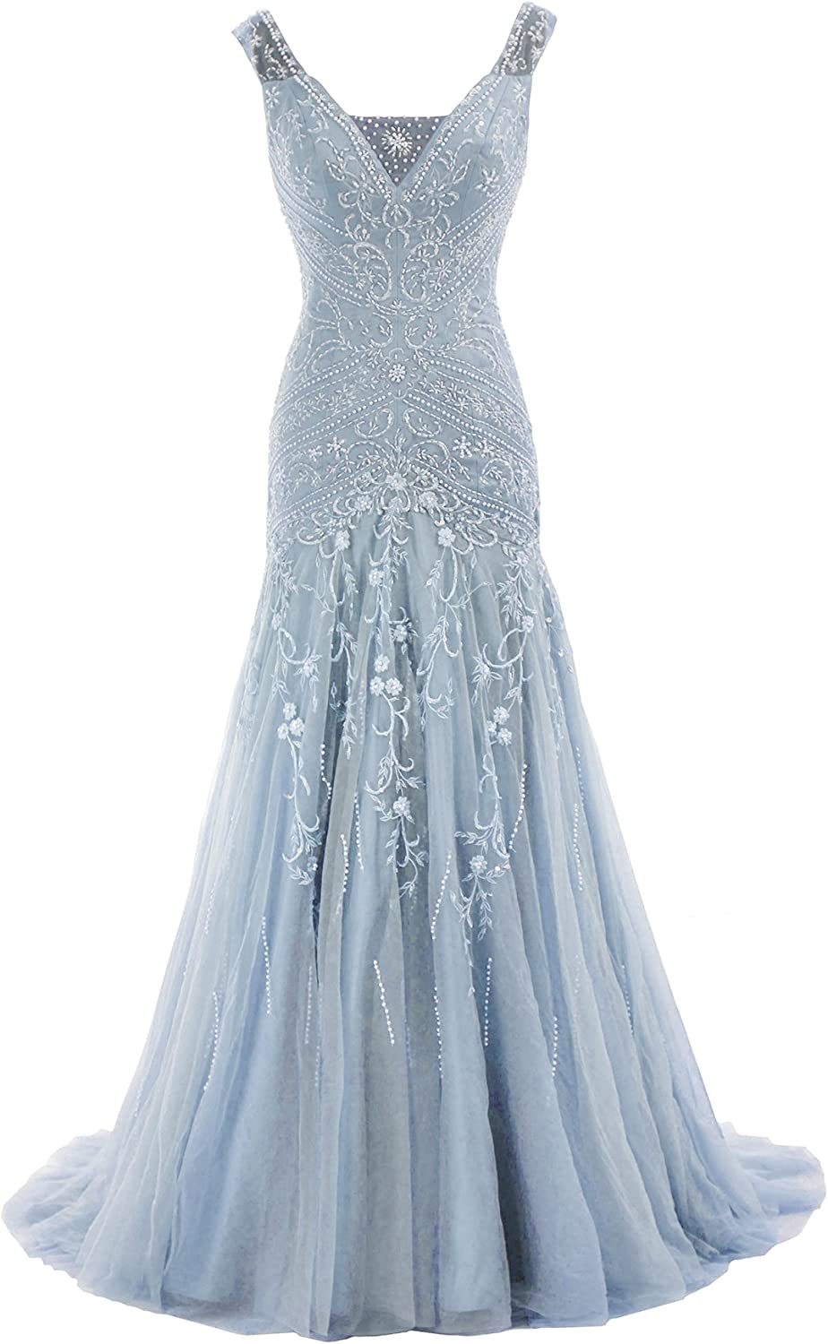 Cocomelody A Line V Neck Long Beaded Evening Dress Bmmc0009 Sky bluee 10