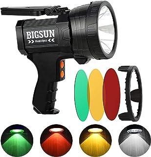 نورافکن LED چند رنگ شارژی BIGSUN Q953 ، چراغ قوه شکار فوق العاده روشن ، فیلتر قایق دریایی فیلتر سه رنگ قرمز / زرد / سبز ، چراغ اضطراری ضد آب IPX4 ، سه پایه و شارژر