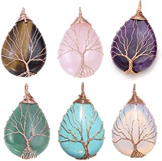 Top Plaza Wire Wrapped Tree of Life Natural Gemstone Teardrop Pendant Necklace Healing Crystal Chakra Jewelry for Women - Set of 7