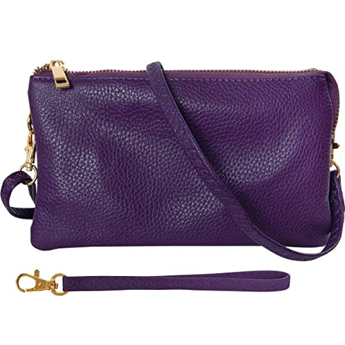 Vegan Leather Crossbody Wristlet Bag or Small Purse Clutch With Adjustable Strap