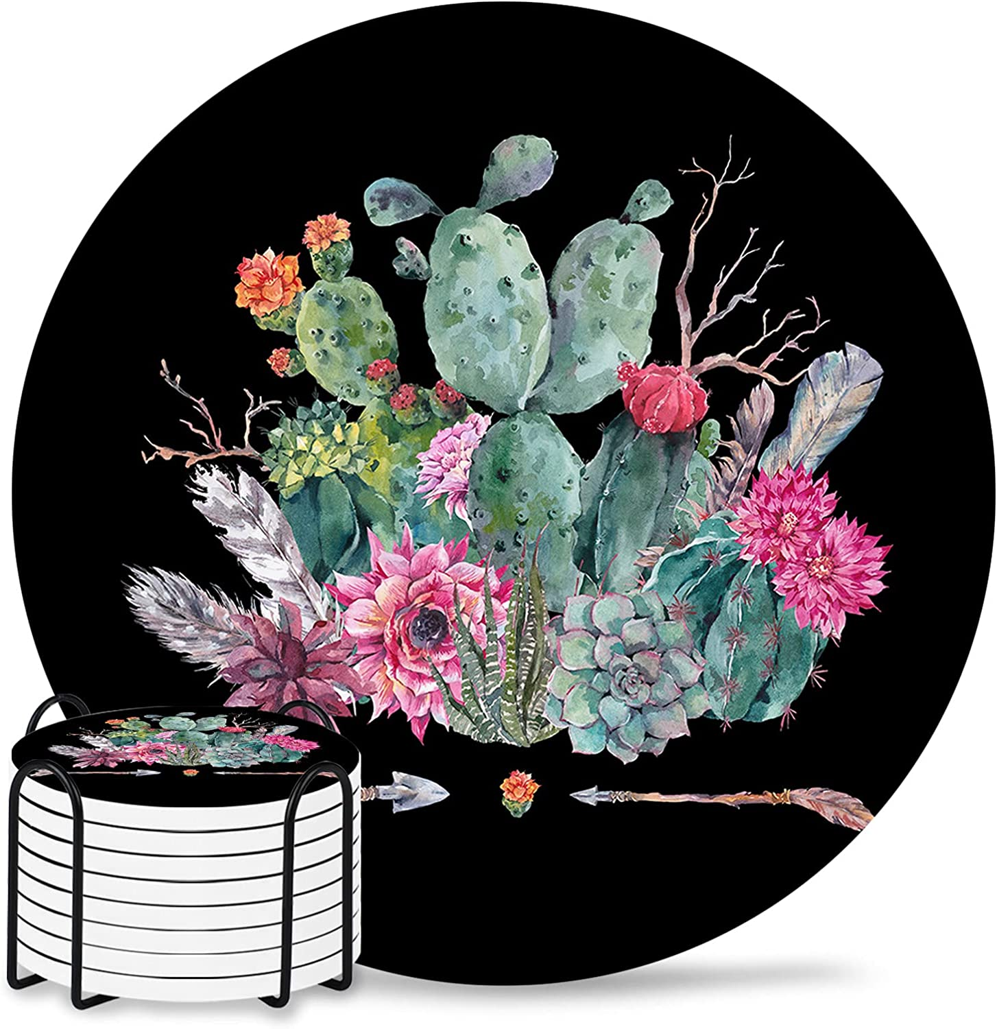 Spring Plants Coaster for Charlotte Mall Drinks Absorbent Cash special price Inch Pad 4 Ceramic