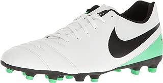 Tiempo Rio III Mens FG Outdoor Soccer Shoes White Black Electro Green (12 M US)