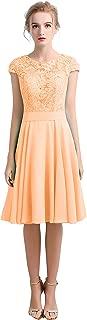 CladiyaDress Women Jewel Neck Chiffon Sequins Short Bridesmaid Dress Evening Gown D102LF