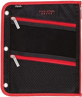 Five Star Pencil Pouch, Pen Case, Fits 3 Ring Binder, Zipper Pouch, Black/Red (50642CE8)