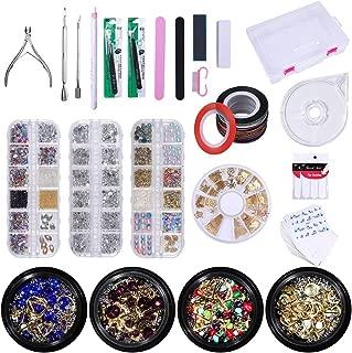 LIARTY 136Pcs Nail Art Decoration Kit: Rhinestones/Acrylic Pearl/Nail Beads/Gems/Nail Rivet Decorations, Nail Sticker Decals, Striping Tape Line, Dotting Pen, Tweezers, Manicure Tools Set