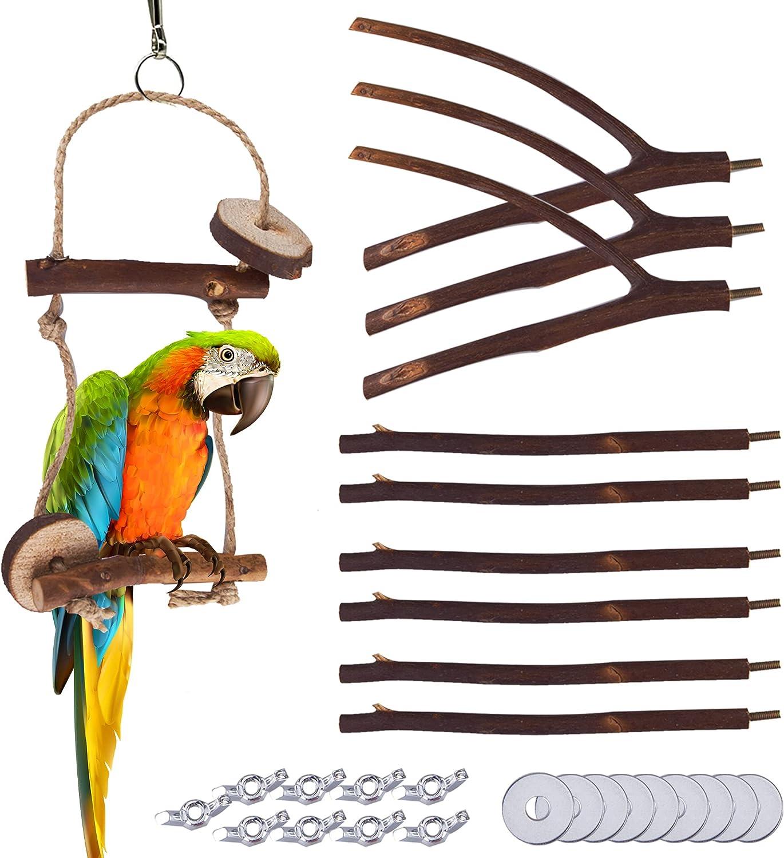Bird Great interest Parrot Perch Stand Set - 10 Natural Pcs Rod Outlet SALE Wood Fork