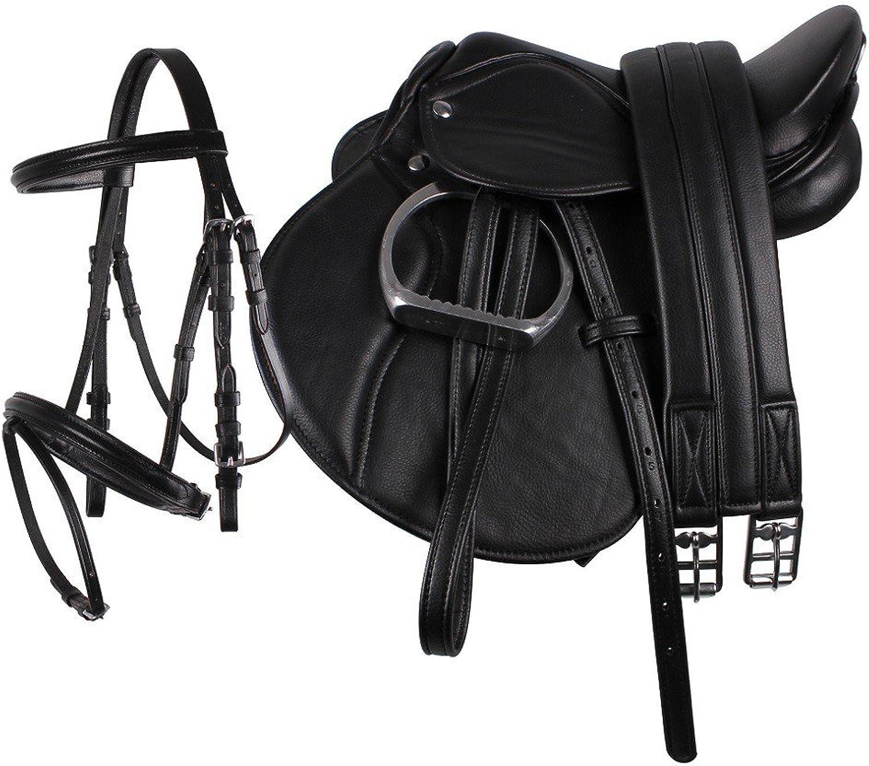 NETPROSHOP Junior Saddle Set complete for shetty and pony, English Saddle, Colour Black