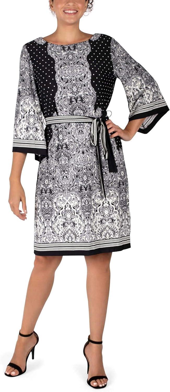 Sandra Darren Angel Sleeve Puff Shift Dress, Multiple Size – Black & Ivory Print