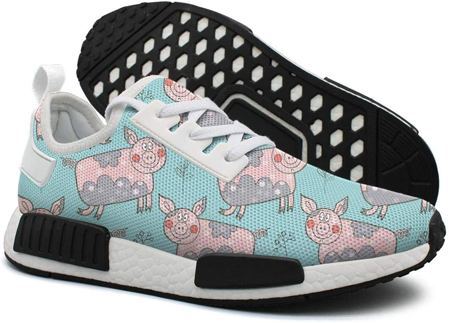 Hand Drawn Beautiful Flower Pig in A Village Women's Comfortable Lightweight Sneakers shoes Gym Outdoor Running shoes