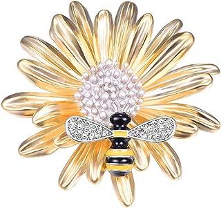 FOCALOOK Brooch Pins for Women 18K Gold Plated Natural Daisy Flower Tree Snowflake Animal Enamel Bee Cat Spider Crystal Rhinestone Violin Breastpin