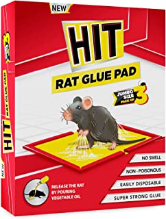 HIT Rat/Mouse Glue Pad - No Smell, Non   Poisonous, Easy to Use (Pack of 3 Jumbo Size)