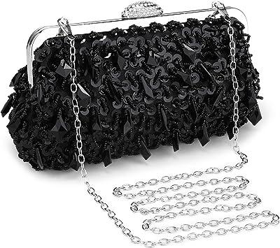 BAIGIO Clutch Damen Handtasche Paillette Abendtasche Umhängetasche Glänzend für Hochzeit Party