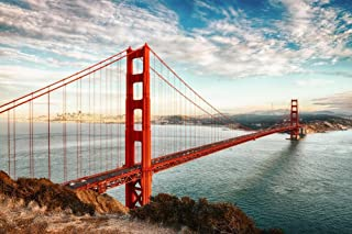 Faraway Golden Gate San Francisco USA Bridge Sea Full Round Crystal Diamond Painting Mosaic Painting for Wall Decor 16X20inch