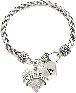 Holly Road Custom Crystal Cheer Heart Silver Bracelet Jewelry Gift Choose Initial All 26