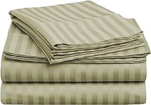 طقم ملاءات سرير 4 قطع من 400 خيط فائق الجودة بنسبة 100% من القطن الممشط فائق الجودة، مقلم وممتلئ - لون أخضر غامق