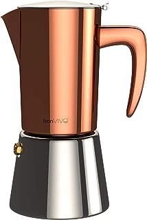 bonVIVO Intenca Stovetop Espresso Maker, Italian Espresso Coffee Maker, Stainless Steel Espresso Maker Machine For Full Bodied Coffee, Espresso Pot For 3-4 Cups, Moka Pot With Copper Chrome Finish