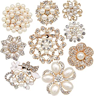 Lot 9pcs Rose Gold-tone Rhinestone brooches, eGlomart Big Pearl Crystal wedding bouquet kit set