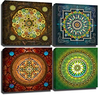 Yumeart Wall Decor Artwork Religion Mandala Flower Pattern Giclee Pictures Canvas Prints on Modern Stretched and Framed Canvas Wall Art Artwork for Home Décor