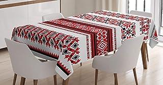 ABAKUHAUS Rouge Nappe, Ukraine Accents, Linge de Table Rectangulaire pour Salle à Manger Décor de Cuisine, 140 cm x 200 c...
