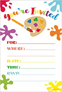 Best Art Painting Birthday Party Invitations - Fill In Style (20 Count) With Envelopes Review