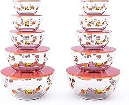 أوعية طعام زجاجية بغطاء 82-5758 St من شيف بادي - مجموعة من 20 قطعة مع مقاسات متعددة للأطباق للتخزين، وإعداد الوجبات ومزجها...