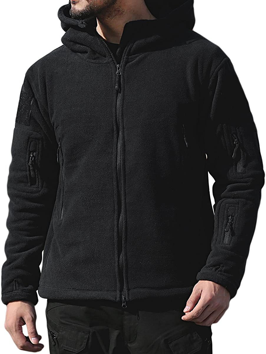 PrettyChic Men's Fleece Hoodie Jacket Mail order Military Tactical Zip Dallas Mall Full
