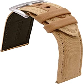 TIME4BEST Canvas Leather Quick Release Watch Band Strap 20mm 22mm 24mm