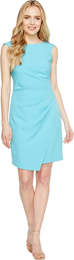 Adrianna Papell - Scissor Hem Side Drape Dress with Bateau Neck