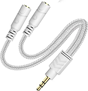 Headphone Splitter, AUX Splitter Cable for Headset Knitted 3.5mm Splitter 2-Way Audio Splitter Stereo Audio Y Cable Produc...