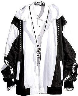 FUMUD ジャケット メンズ ブルゾン アウター 学生 黒白 ゆったり ストリートス系 フード付き ファッション 春秋