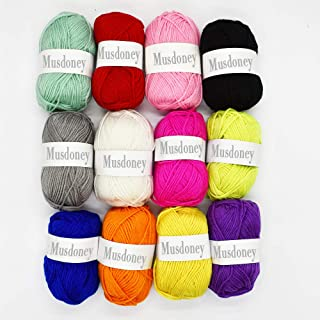 12 Colors Acrylic Yarn Skeins - 1.76 Ounce(50g) Each - Perfect for Any Knitting and Crochet Mini Project - Starter Kit for Colorful Craft