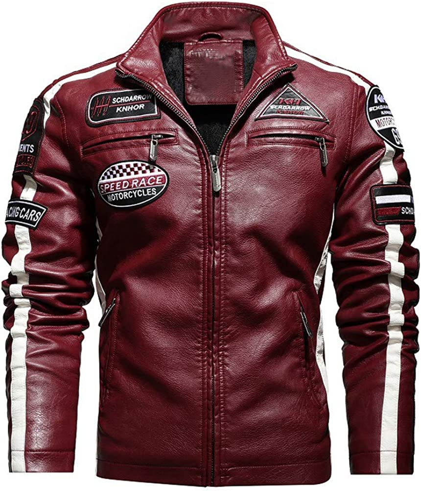 chouyatou Men's Thermal Fleece Lined Patchwork Moto Racer Faux Leather Jacket