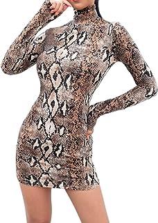 de Mujer,Moda Mujer Sexy Vestido de Manga Larga de Cuello Alto Mini Vestido con Estampado de Rayas de Serpiente Ajustado y Slim (Gris, S)