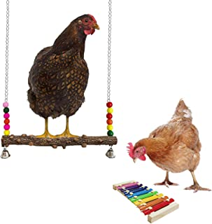 Chicken Toys Xylophone and Swing Hens Coop Accessories, Rooster Wooden Perch for Run Stand, Chicks Roosting Bar, Poultry P...