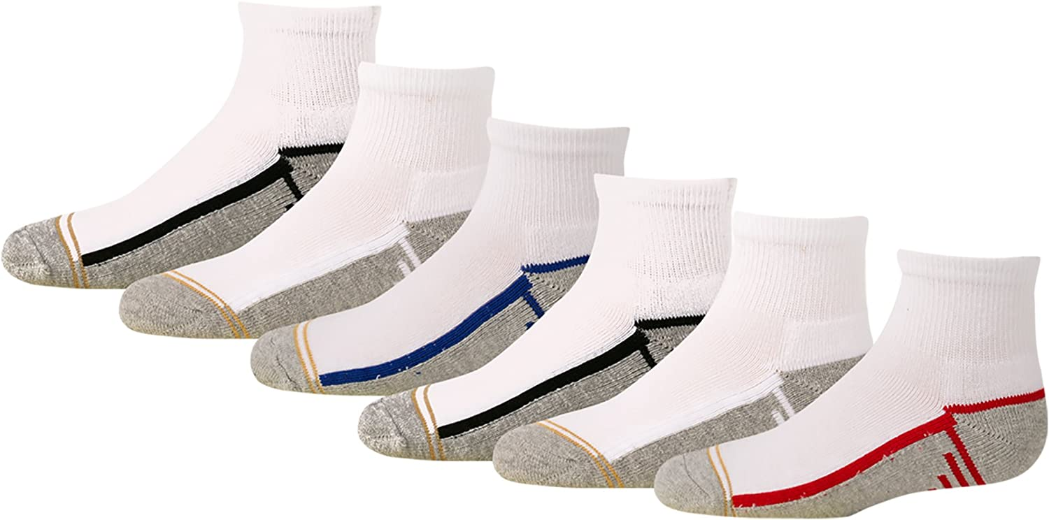 Gold Toe Boys' Athletic Quarter Socks, 6-Pair: Clothing