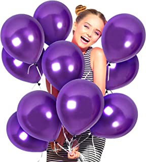 Metallic Dark Purple Balloons 100 Pack Pearlized Violet Latex 12 Inch for Bachelorette Party Decorations Wedding Decor Baby Bridal Shower Graduation and Mardi Gras Masquerade Ball Supplies