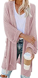 Traleubie Women's Open Front 3/4 Sleeve Boho Kimono Knit Cardigan Sweaters with Pockets