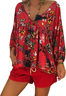 GAOXINGQU Women's Sexy V-Neck Butterfly Printed 3/4 Sleeve Blouse (Color : Red, Size : 4XL)