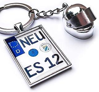 Internetservice Timo Lindner Schlüsselanhänger mit individuellem Motorradkennzeichen und Helm Nummernschild Motorrad Personalisiert Geschenk