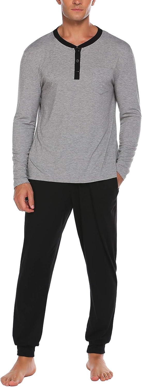 Ekouaer Sleepwear Men's Pajamas Set Long Sleeve PJs Soft Lounge Sets with Buttons S-XXL