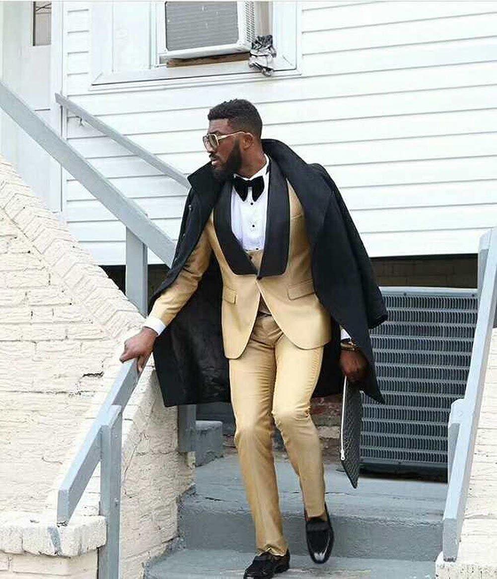 1970s Men's Suits History | Sport Coats & Tuxedos Gold Mens 3 Piece Suits Bridegroom Suits Slim Fit Groom Tuxedos Bridegroom Prom Suits  AT vintagedancer.com