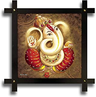 Poster N Frames Cross Wooden Frame Hand-Crafted with Photo of Lord Ganesh ji Size (16.5x16.5inch,wood,multicolour)