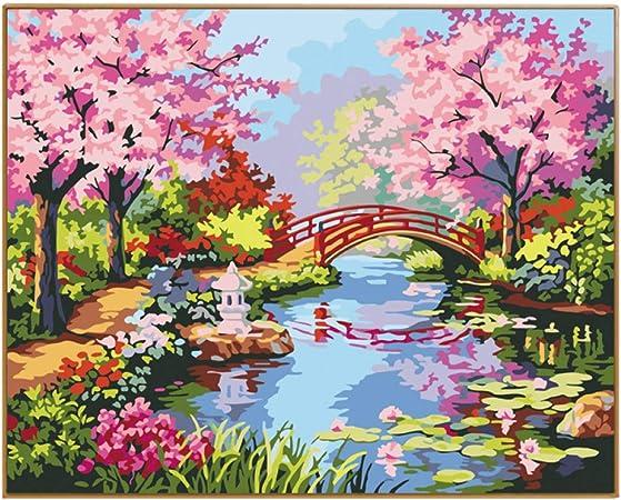 Erqingszh Pittura Digitale Immagine Di Paesaggio Di Primavera Oli Per Dipingere A Mano Con I Numeri Su Tela Diy Disegni Da Colorare Con Numeri Per Decorazioni Per La Casa Amazon It Casa E