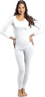 ملابس داخلية من قطعتين حراريتين وفائقتي النعومة للنساء من روكي - بلوزة وسروال داخلي مبطنان بالصوف ابيض Medium