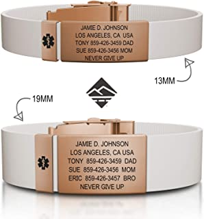 Road ID Medical Alert Bracelet - Official ID Wristband with Medical Alert Badge - Silicone Clasp Personalized Medical ID Bracelet