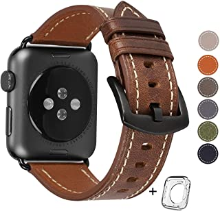 HOT Compatible for Apple Watch Band 42mm 44mm, Top Grain Leather Band Replacement Strap iWatch Series 4/3/2/1,Sport, Edition. New Retro discoloured Leather (Retro Camel Brown+Black Buckle 42mm 44mm)
